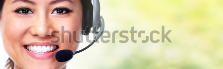 Photo stock: Secrétaire · casque · chinois · femme · appelant · parler