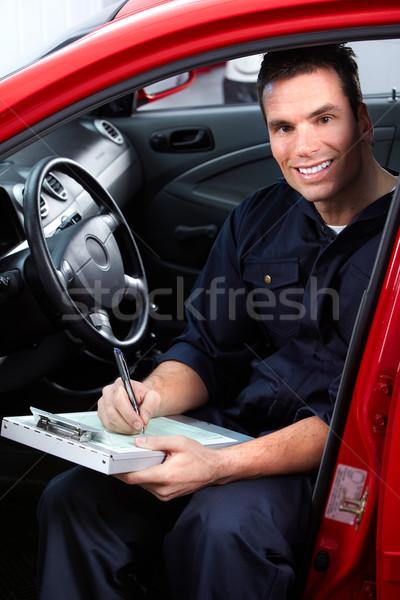 Foto stock: Auto · reparación · guapo · mecánico · de · trabajo · tienda