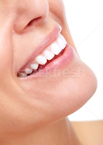 Stock photo: Beautiful woman smile and teeth.