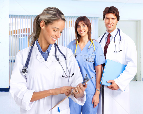 Foto stock: Sorridente · médico · pessoas · médicos · mulher