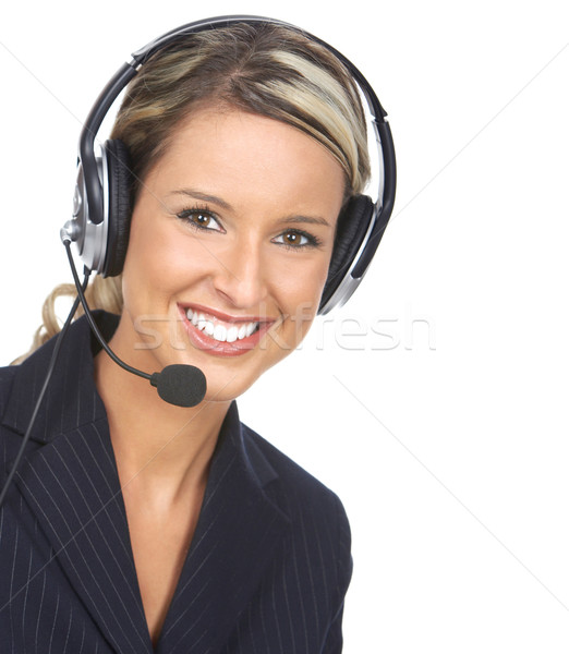 Call Center Betreiber schönen business woman Headset weiß Stock foto © Kurhan