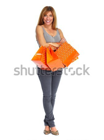Shopping woman with envelope and gifts. Stock photo © Kurhan
