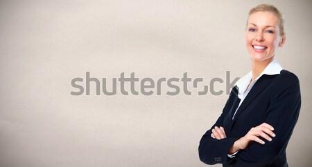 красивой деловой женщины молодые серый бизнеса стены Сток-фото © Kurhan
