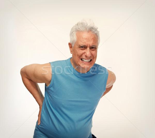 Foto stock: Dor · nas · costas · idoso · homem · cinza · saúde · problema