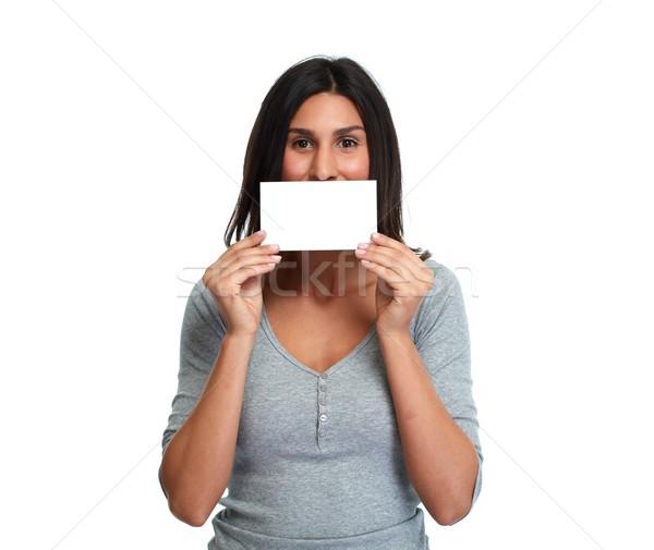 beautiful girl with blank card. Stock photo © Kurhan