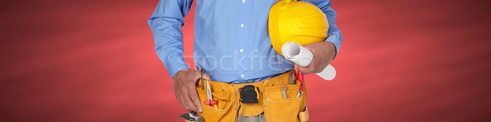 建設作業員 ヘルメット ツール ベルト 赤 ビジネス ストックフォト © Kurhan