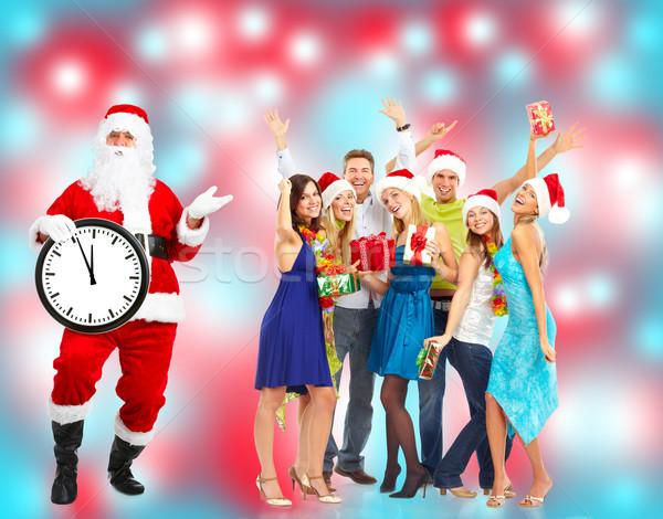 Noel grup mutlu insanlar noel baba parti Stok fotoğraf © Kurhan