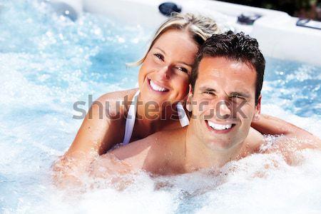 ストックフォト: 幸せ · カップル · ジャグジー · リラックス · 温水浴槽 · 休暇