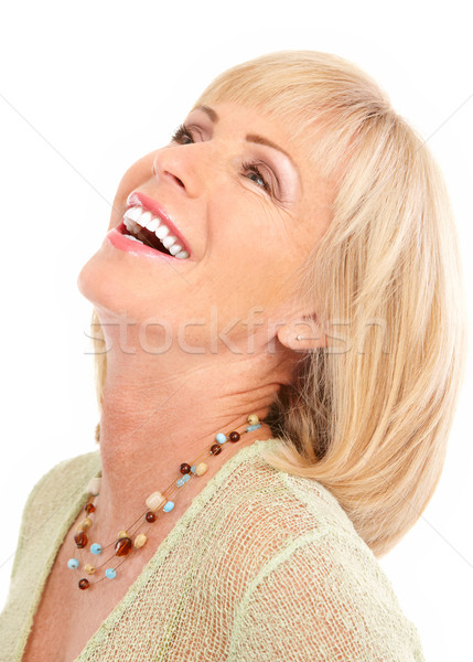 Stockfoto: Vrouw · glimlachen · gelukkig · geïsoleerd · witte · vrouw