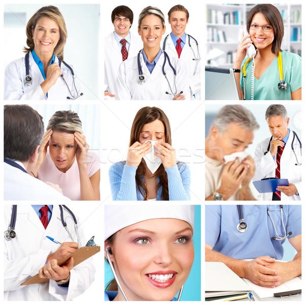 Foto stock: Médicos · sorridente · trabalhar · médico · hospital · trabalhador