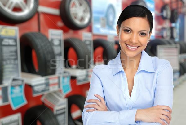 自動 ディーラー 女性 車 タイヤ 美しい ストックフォト © Kurhan