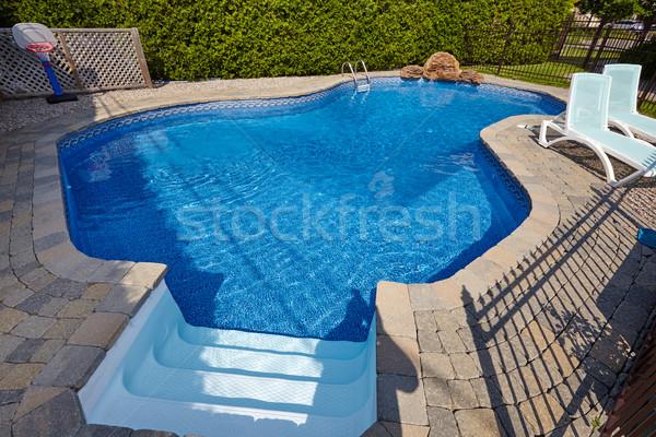 úszómedence kék víz nyár medence pihen Stock fotó © Kurhan