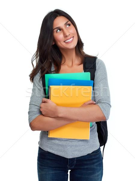 Student vrouw glimlachen mooie meisje geïsoleerd witte Stockfoto © Kurhan