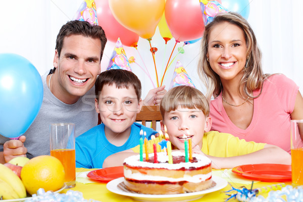 Stock photo: Happy family and birthday