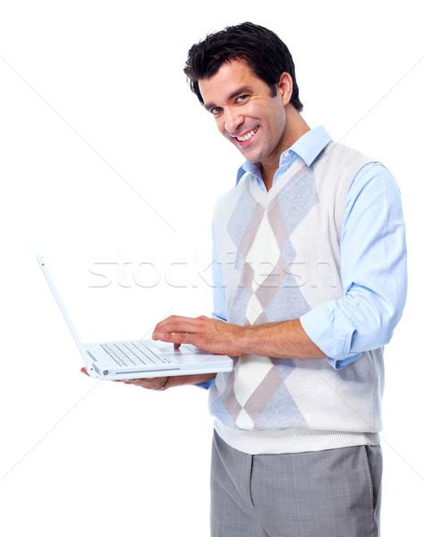 男 ハンサム 笑みを浮かべて 孤立した 白 コンピュータ ストックフォト © Kurhan