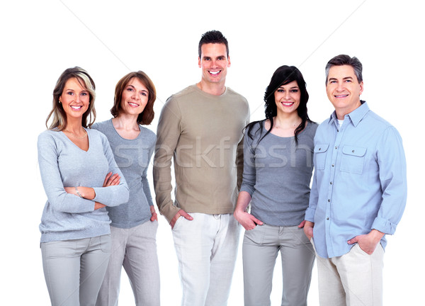 Foto stock: Grupo · pessoas · felizes · isolado · branco · mulher · família