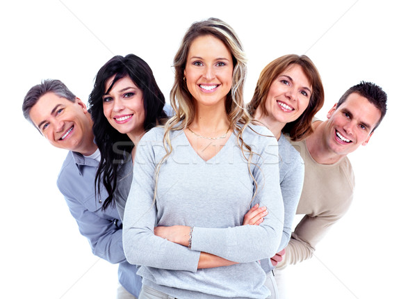 Foto stock: Grupo · pessoas · felizes · isolado · branco · família · menina