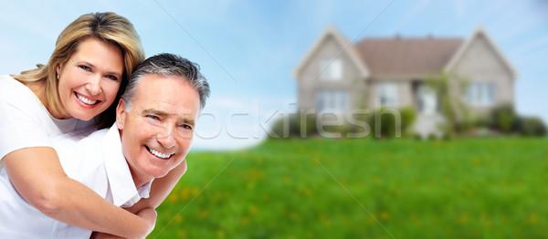 Stock fotó: Boldog · idős · pár · új · ház · ingatlan · építkezés · otthon