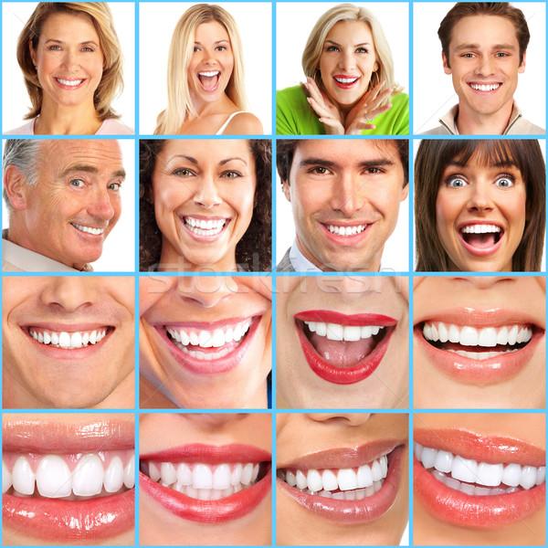 Pessoas felizes sorrir cara menina homem feliz Foto stock © Kurhan