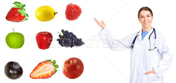 Zdrowa dieta medycznych lekarza owoce odizolowany biały Zdjęcia stock © Kurhan