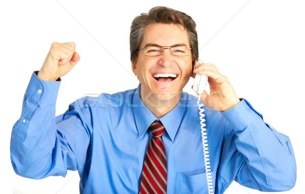 Foto stock: Empresário · maduro · chamada · telefone · branco · sorrir