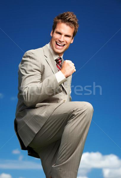 üzletember boldog sikeres kék ég portré mosoly Stock fotó © Kurhan