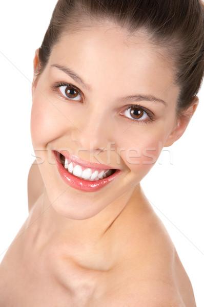 Cara da mulher belo mulher jovem sorridente isolado branco Foto stock © Kurhan