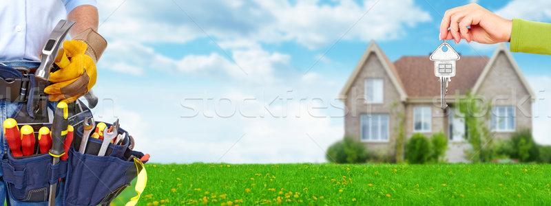 Pracownik budowlany narzędzie pasa mieszkaniowy handlowych Zdjęcia stock © Kurhan