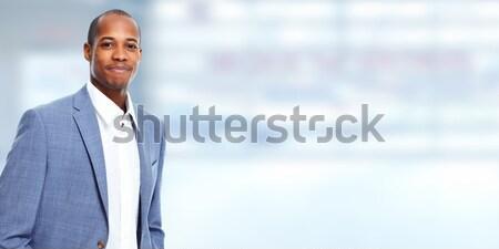 Africano americano empresário bem sucedido cinza negócio homem Foto stock © Kurhan
