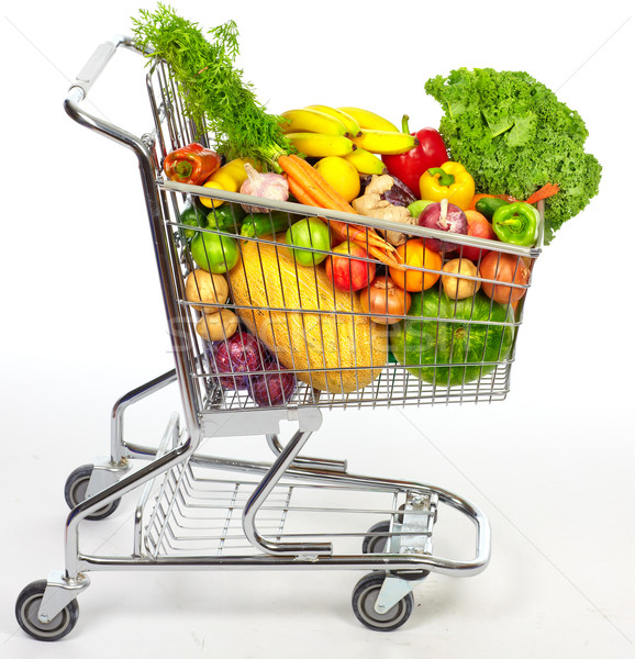 Grocery shopping cart with vegetables and fruits. Stock photo © Kurhan