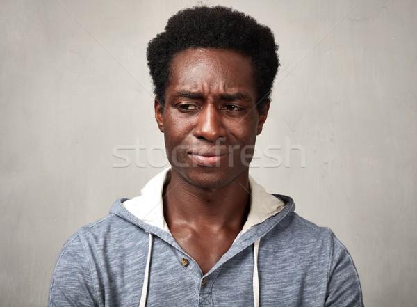üzücü siyah adam melankolik adam gri Stok fotoğraf © Kurhan