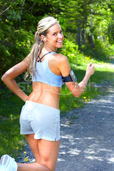 Jogging kobieta młoda kobieta parku zdrowia fitness Zdjęcia stock © Kurhan