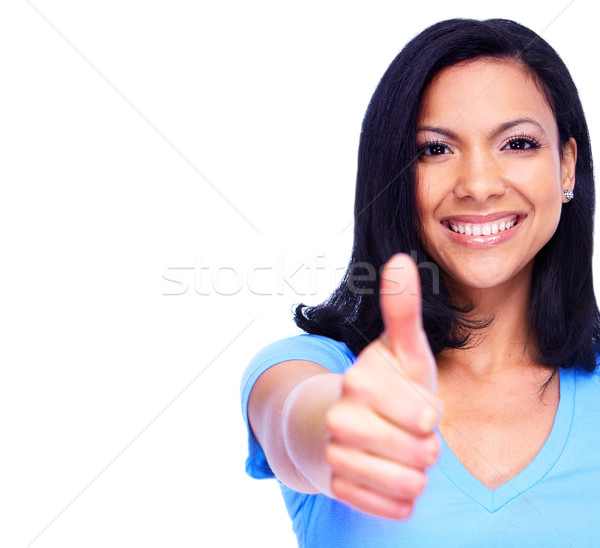 Stock fotó: Boldog · nő · izolált · fehér · lány · mosoly