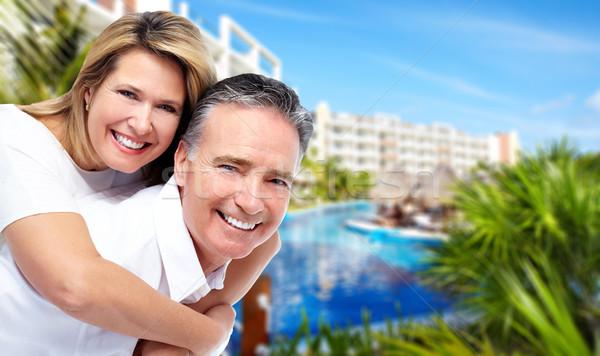 Heureux couple de personnes âgées tropicales Resort Caraïbes vacances Photo stock © Kurhan