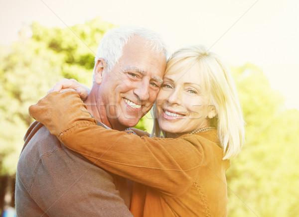 Idős emberek park kettő kopott mosolyog emberek Stock fotó © Kurhan