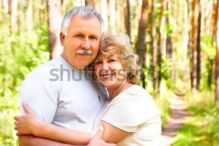 Stock foto: ältere · Paar · lächelnd · glücklich · Liebe · Freien