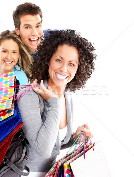 Glücklich Warenkorb Menschen isoliert weiß Frau Stock foto © Kurhan