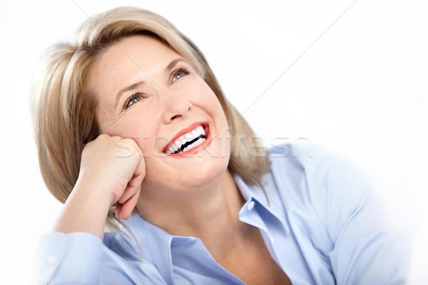 Stockfoto: Gelukkig · vrouw · rijpe · vrouw · groot · glimlach · gezondheid