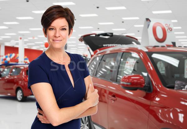 Autókereskedő nő autó kereskedés bérlet üzlet Stock fotó © Kurhan