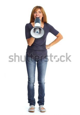 Happy woman talking in megaphone. Stock photo © Kurhan