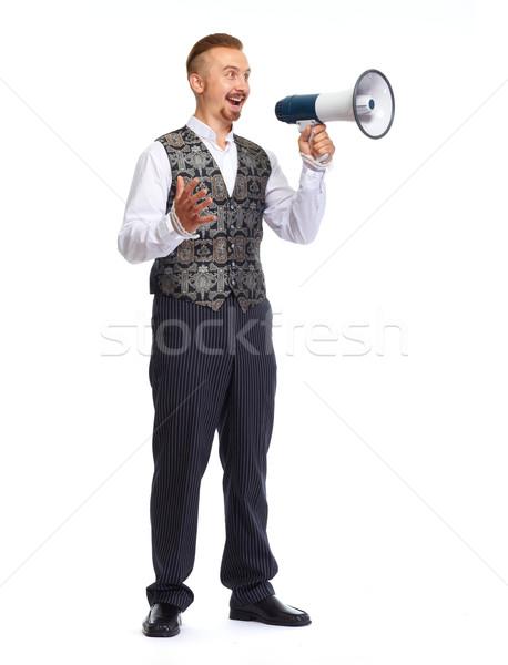 Moço falante megafone isolado branco homem Foto stock © Kurhan