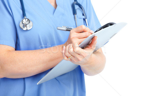 Foto stock: Médico · médico · mulher · estetoscópio · isolado · branco