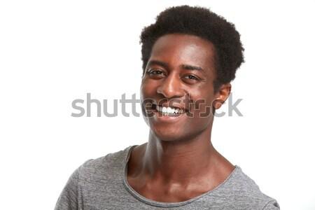 Gelukkig zwarte man glimlach afro-amerikaanse man lachend gezicht Stockfoto © Kurhan