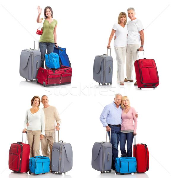 Mensen zakken geïsoleerd witte vrouw familie Stockfoto © Kurhan