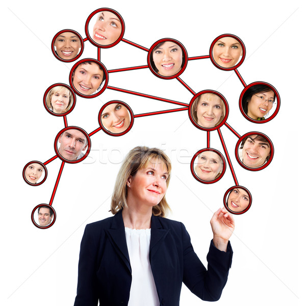 Stock photo: Business woman and virtual community.