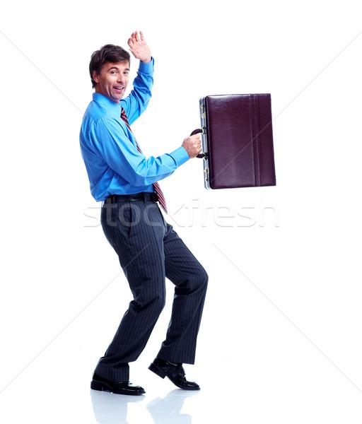 Stock foto: Glücklich · Geschäftsmann · Fall · läuft · isoliert · weiß
