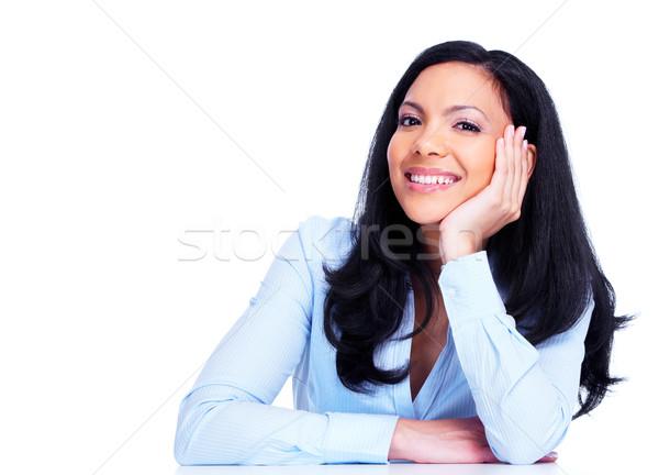 ストックフォト: 小さな · ビジネス女性 · ヒスパニック · 孤立した · 白 · 笑顔