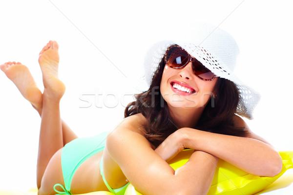 Mujer relajante playa aislado blanco nina Foto stock © Kurhan