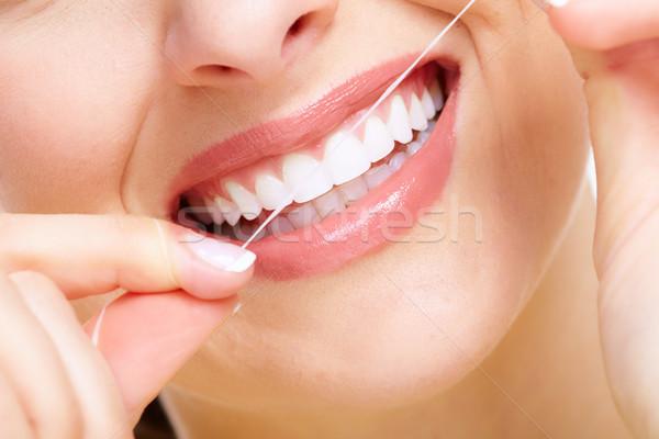 Gyönyörű nő mosoly fogászati egészségügy klinika arc Stock fotó © Kurhan