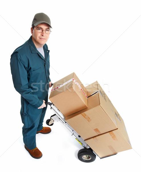 Lieferung Briefträger isoliert weiß Mann Hintergrund Stock foto © Kurhan
